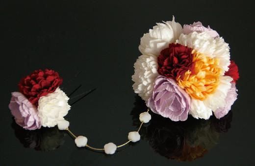 かわいい髪飾り「戀華(HK001)」白×赤×オレンジ×紫