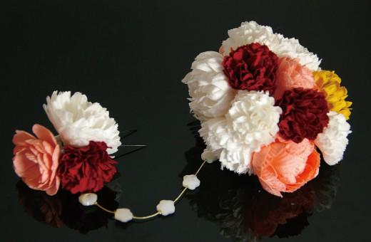 かわいい髪飾り「戀華(HK003)」白×赤×黄×ピンク