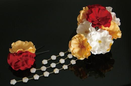 振袖にあう髪飾り「戀華(IT022)」赤×白×オレンジ