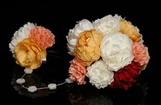 かわいい髪飾り「戀華(HK005)」白×赤×オレンジ×ピンク