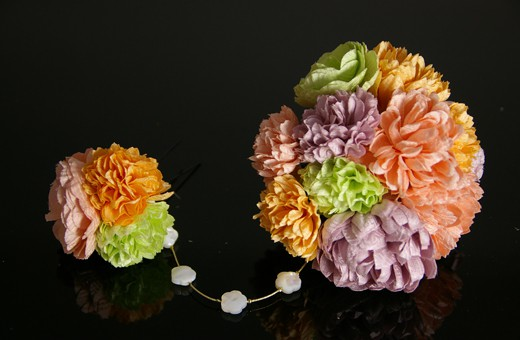 かわいい髪飾り「戀華(HK007)」ピンク×オレンジ×緑×紫