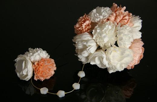 かわいい髪飾り「戀華(HK009)」白×ピンク