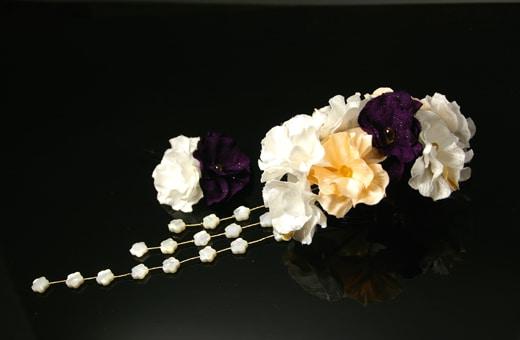 振袖にあう髪飾り「戀華(IT002)」白×オレンジ×紫