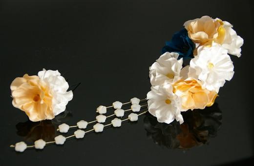振袖にあう髪飾り「戀華(IT013)」白×オレンジ×青