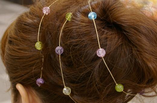 20珠の水晶がつらなった可愛らしい飾り紐