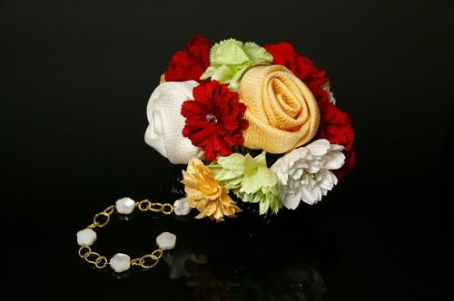 艷やかな髪飾り「戀華(KT003)」白×オレンジ